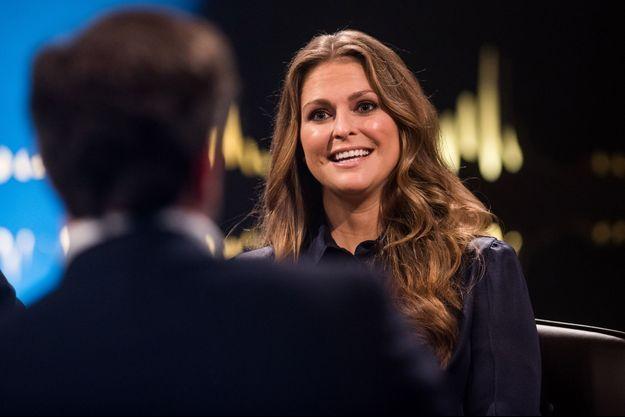 La princesse Madeleine lors de son interview télévisée pour la chaîne suédoise STV1, réalisée à Londres
