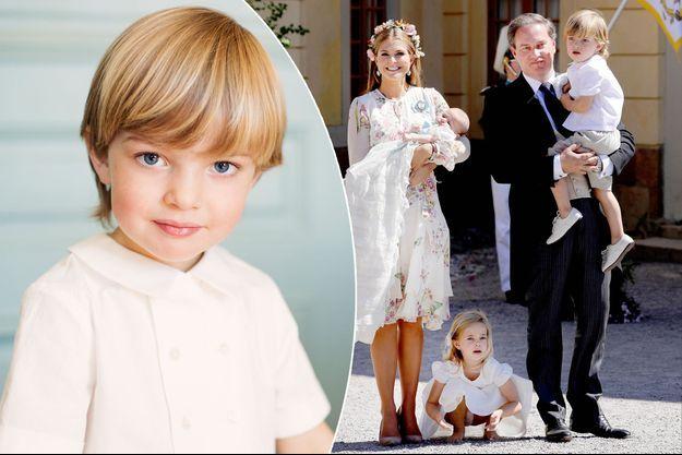 Le prince Nicolas de Suède, photo dévoilée pour ses 3 ans. A droite, avec ses parents la princesse Madeleine et Christopher O'Neill et ses soeurs les princesses Leonore et Adrienne, le 8 juin 2018