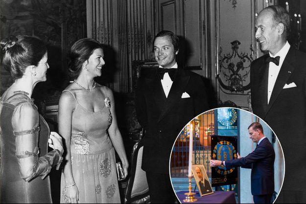 Le roi Carl XVI Gustaf et la reine Silvia de Suède avec le président de la République français Valéry Giscard d'Estaing et sa femme Anne-Aymone au Palais de l'Elysée, le 10 novembre 1976. En vignette: cérémonie pour Valéry Giscard d'Estaing à Stockholm, le 5 décembre 2020
