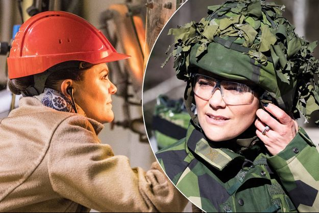 La princesse Victoria de Suède à Malmo le 23 mars 2018. En vignette à droite, à Berga le 22 mars 2018