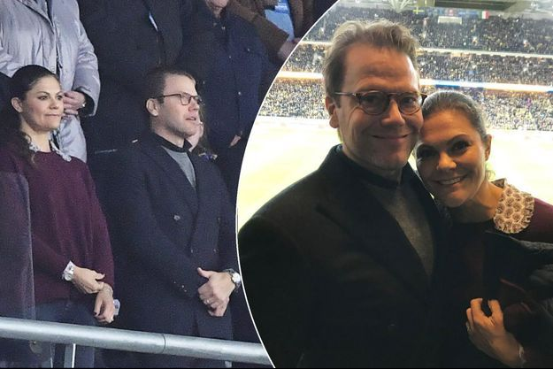 La princesse Victoria de Suède et le prince Daniel au match de football Suède-Italie à Solna, le 10 novembre 2017