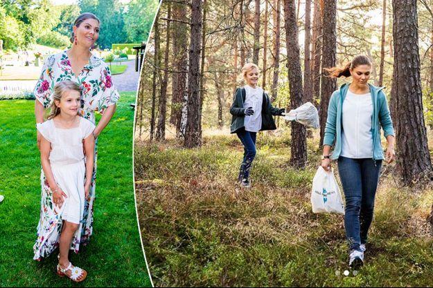Les princesses Victoria et Estelle de Suède le 14 juillet 2019. A droite, le 21 septembre 2019