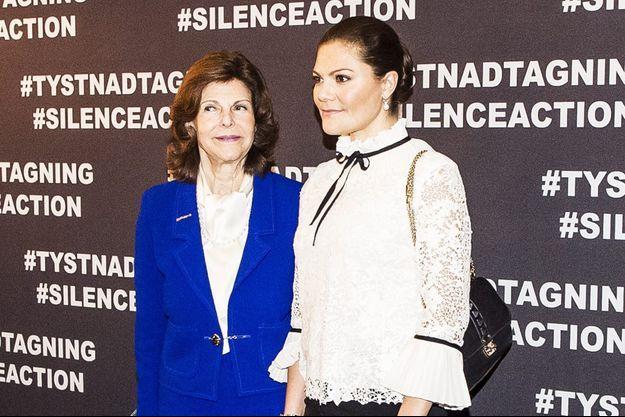 La reine Silvia et la princesse Victoria de Suède à Stockholm, le 19 novembre 2017