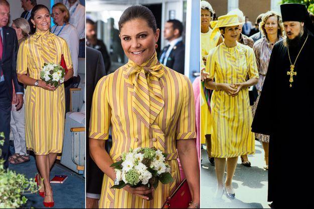 La princesse Victoria de Suède à Stockholm le 28 août 2017 - Sa mère, la reine Silvia de Suède, à Moscou en juin 1978