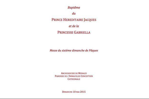 Le livret du baptême du prince héréditaire Jacques et de la princesse Gabriella.