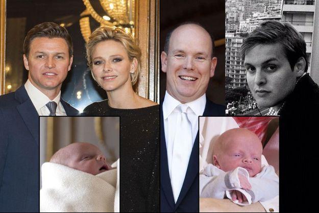 La Princesse Charlène de Monaco et son frère Gareth Wittstock, le prince Albert de Monaco et le fils de son cousin, Christopher Le Vine Jr. En médaillons, le prince Jacques et la princesse Gabriella