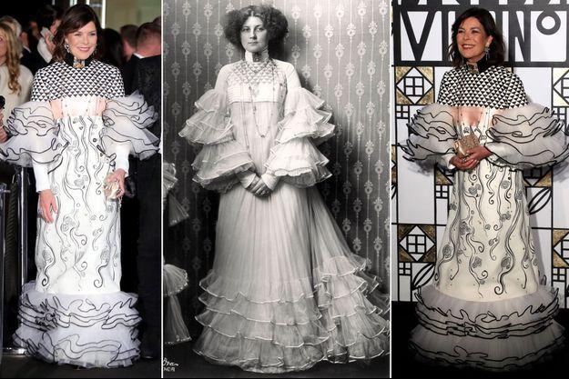 La princesse Caroline de Monaco en Chanel au Bal de la rose le 18 mars 2017. Au centre: Emilie Flöge en 1909