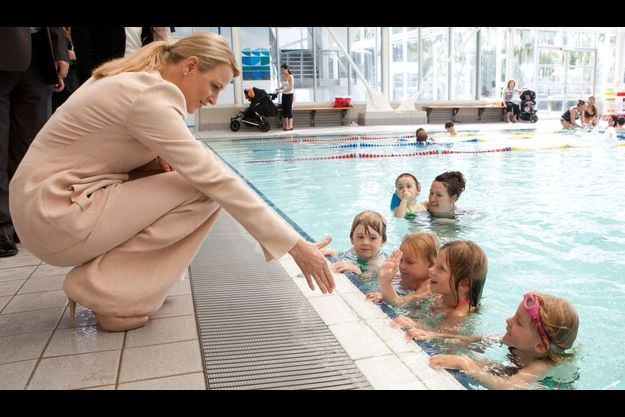 Charlène au centre aquatique de Melbourne, en Australie.