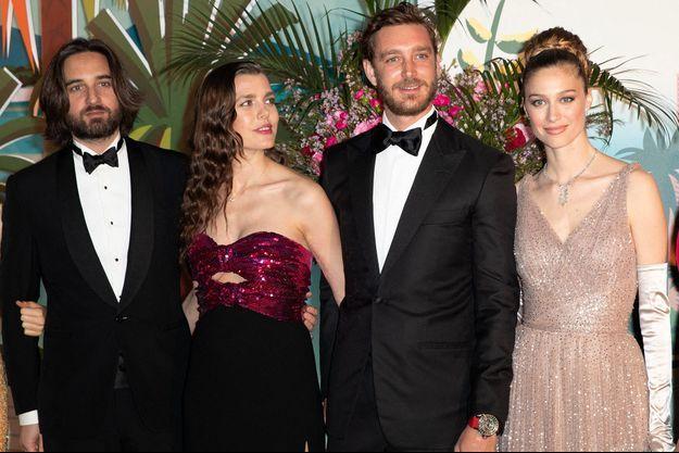 Dimitri Rassam, Charlotte Casiraghi, Pierre Casiraghi et Beatrice Casiraghi au Bal de la rose 2019 à Monaco.