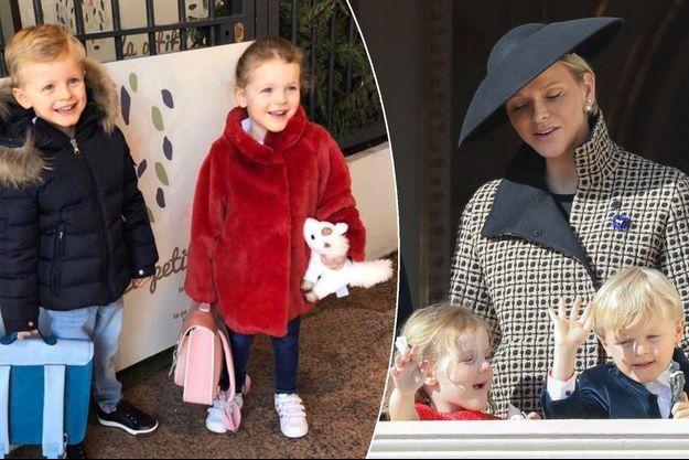 Le prince Jacques et la princesse Gabriella de Monaco, le 7 janvier 2019. A droite, avec la princesse Charlène de Monaco, le 19 novembre 2018