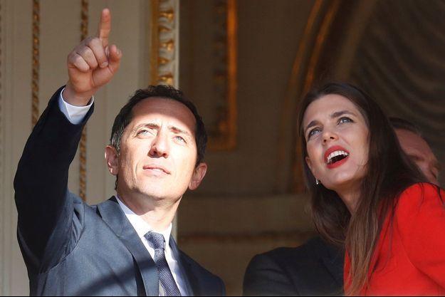 Gad Elmaleh et Charlotte Casiraghi au balcon du Palais princier de Monaco, le 7 janvier 2015