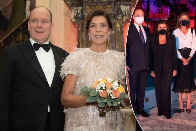 Le prince Albert II de Monaco et la princesse Caroline de Hanovre, le 5 octobre 2019. A droite, avec Cecilia Bartoli, le 19 septembre 2020