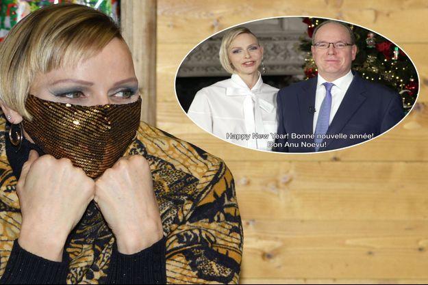La princesse Charlène de Monaco, le 16 décembre 2020. En vignette, avec le prince Albert II lors de leurs vœux 2021 diffusés le 31 décembre 2020