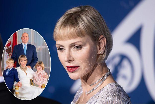 La princesse Charlène de Monaco, le 24 septembre 2020. En vignette, détail avec le prince Albert et leurs jumeaux sur leur nouveau portrait officiel diffusé le 20 janvier 2021