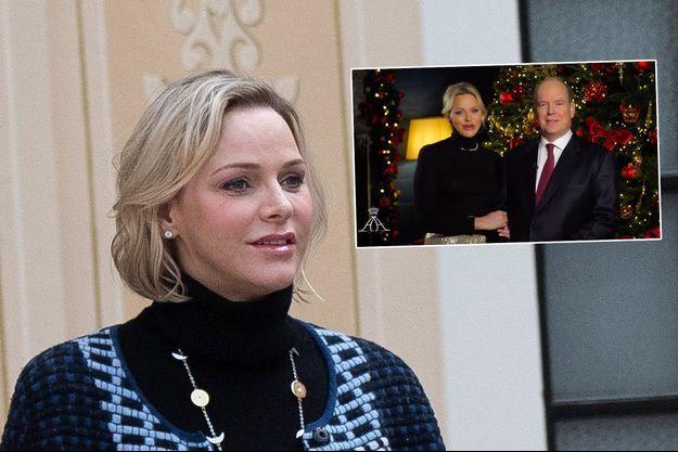 La princesse Charlène de Monaco le 18 décembre 2019. En vignette, avec le prince Albert II de Monaco lors de leurs vœux 2020