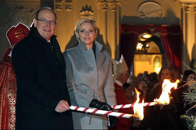 Le prince Albert de Monaco et sa princesse Charlène, lors des célébrations de Sainte-Dévote