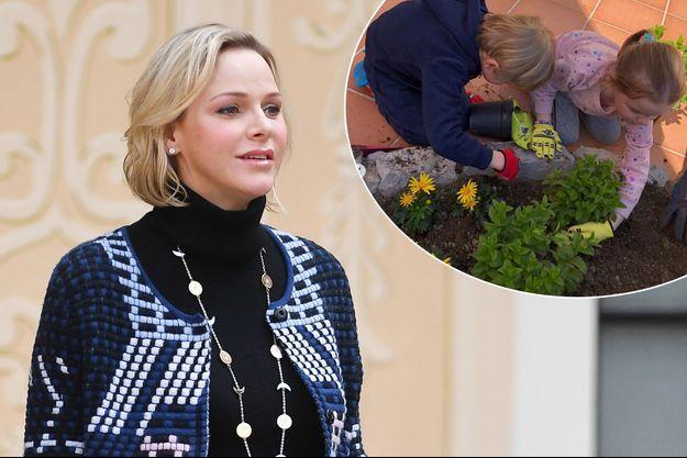 La princesse Charlène de Monaco, le 18 décembre 2019. En vignette: la princesse Gabriella et le prince Jacques de Monaco en avril 2020