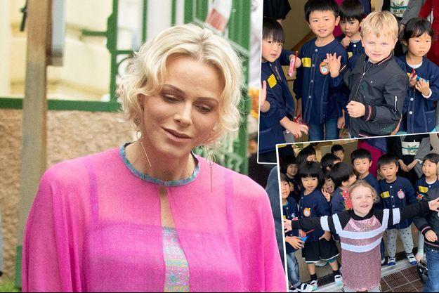 La princesse Charlène de Monaco le 6 septembre 2019. En vignettes, le prince Jacques et la princesse Gabriella dans une école au Japon fin octobre 2019