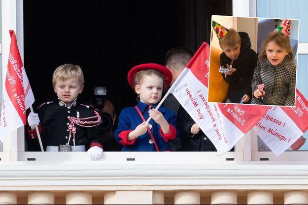 Le prince Jacques et la princesse Gabriella de Monaco, le 19 novembre 2019. En vignette, le jour de leurs 5 ans, le 10 décembre 2019