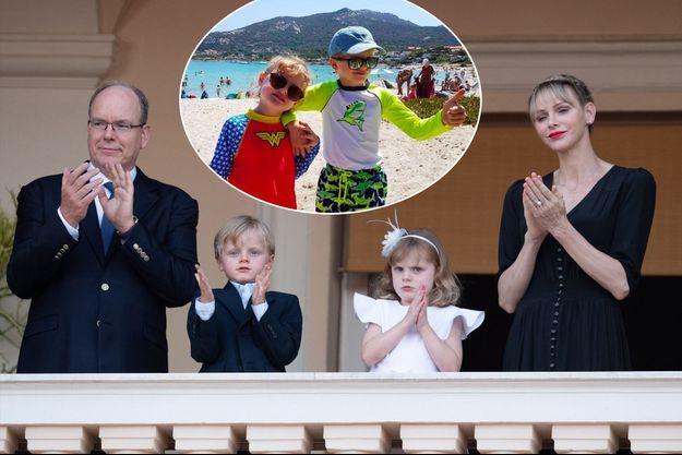 Le prince Jacques et la princesse Gabriella de Monaco à Monaco avec leurs parents, le 23 juin 2020. En vignette, en vacances en juillet 2020