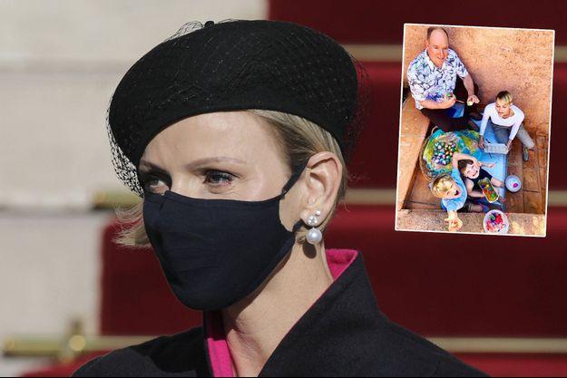La princesse Charlène de Monaco, le 19 novembre 2020. En vignette, avec le prince Albert II et leurs jumeaux, photo diffusée le 2 avril 2021