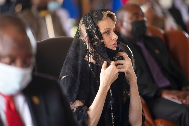 La princesse Charlène de Monaco au service funèbre de Goodwill Zwelithini, le roi des Zoulous, à Nongoma en Afrique du Sud, le 18 mars 2021