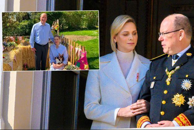 La princesse Charlène et le prince Albert II de Monaco, le 19 novembre 2019. En vignette, sur leur vidéo de Pâques diffusée le 12 avril 2020
