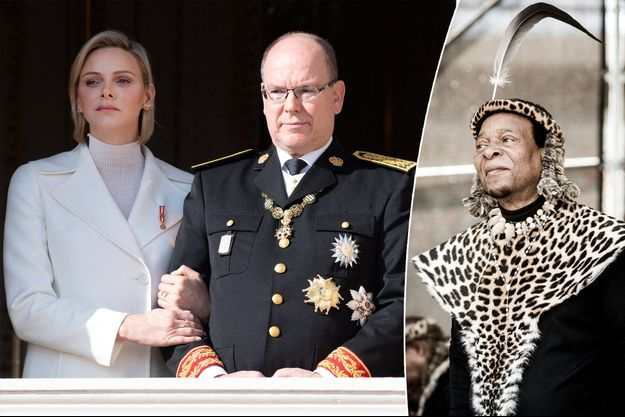 La princesse Charlène et le prince Albert II de Monaco, le 19 novembre 2019 - Le roi de la nation zouloue Goodwill Zwelithini le 7 octobre 2018