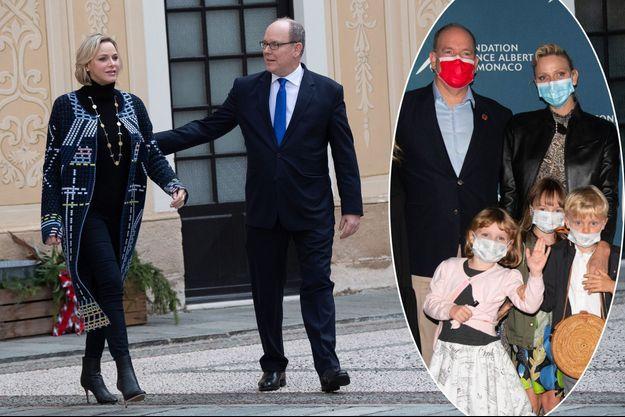 La princesse Charlène et le prince Albert II de Monaco à Monaco, le 18 décembre 2019. En vignette, avec leurs jumeaux Jacques et Gabriella à L'Ile Rousse en Corse, le 1er septembre 2020