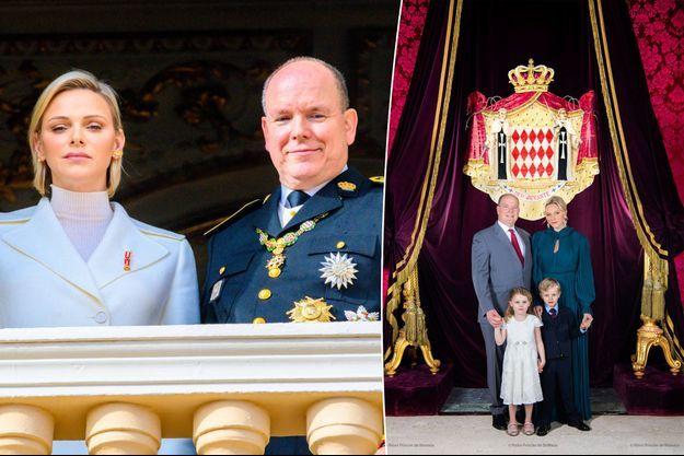 La princesse Charlène et le prince Albert II de Monaco le 19 novembre 2019. A droite, une nouvelle photo officielle avec leurs jumeaux la princesse Gabriella et le prince Jacques