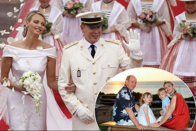 Le prince Albert II de Monaco et Charlène Wittstock le 2 juillet 2011, jour de leur mariage. En vignette : l'une des photos diffusées pour leurs noces de faïence