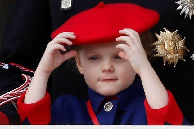 La princesse Gabriella de Monaco au balcon du Palais princier de Monaco, le 19 novembre 2019