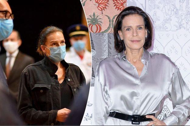 La princesse Stéphanie de Monaco à Paris, le 26 février 2020 - A gauche, à Monaco le 27 mai 2020