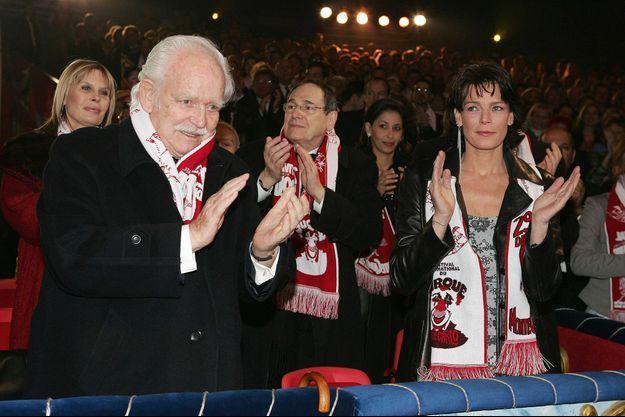 Le prince Rainier III de Monaco avec la princesse Stéphanie au 29e Festival international du cirque de Monte-Carlo, le 25 janvier 2005