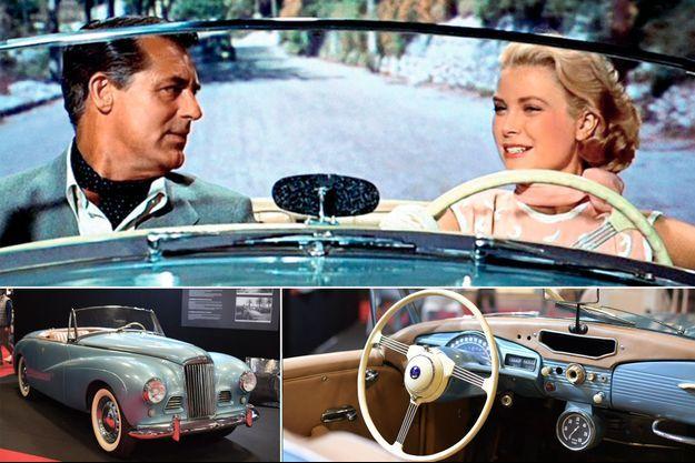 """Grace Kelly et Gary Grant dans """"La Main au collet"""" d'Alfred Hitchcock. En bas: la Sunbeam Alpine MK1 du prince Albert II de Monaco au Salon Rétromobile à Paris, le 6 février 2020"""