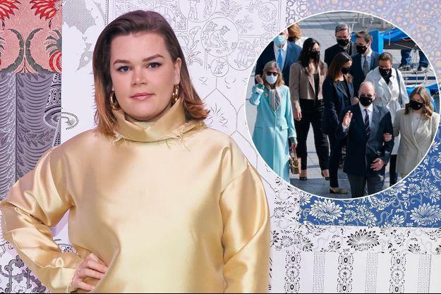 Camille Gottlieb, le 26 février 2020. En vignette, avec la famille princière de Monaco