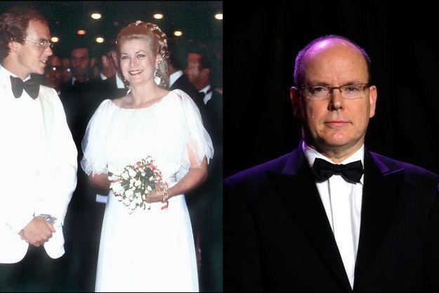 Le prince Albert le 21 novembre 2014 et aux côtés de sa mère la princesse Grace de Monaco le 8 août 1980