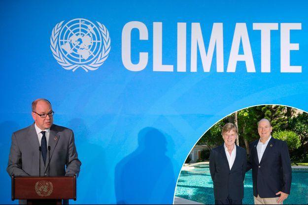 Le prince Albert II de Monaco à l'ONU à New York, le 23 septembre 2019. En vignette, avec Robert Redford à Monaco, le 25 septembre 2019
