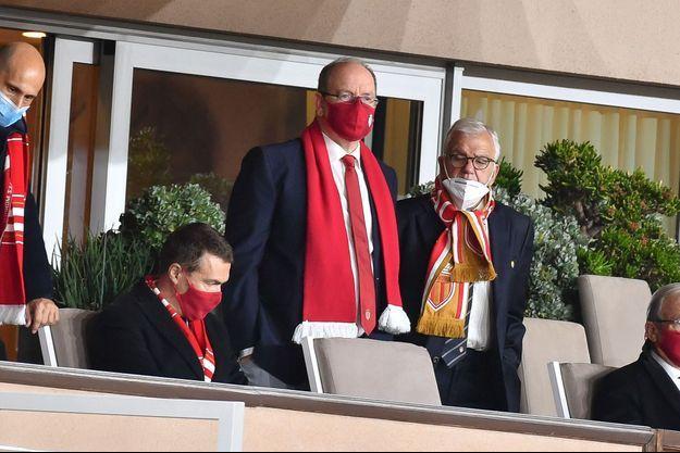 Le prince Albert II de Monaco au stade Louis-II lors du match ASM-OL, le 2 mai 2021