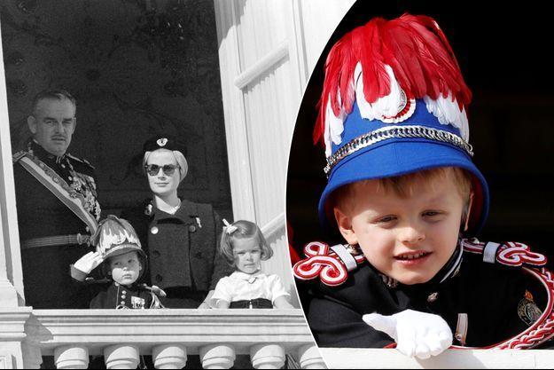 Le prince Albert de Monaco en uniforme avec le prince Rainier III et les princesses Grace et Caroline, en novembre 1961. A droite, le prince Jacques de Monaco, le 19 novembre 2019