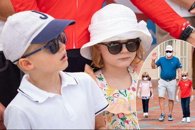 Le prince Jacques et la princesse Gabriella de Monaco, le 12 septembre 2020. En vignette, avec le prince Albert II à Monaco, le 19 septembre 2020