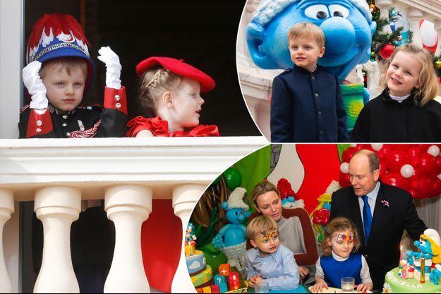 Le prince Jacques et la princesse Gabriella de Monaco le 19 novembre 2019. En vignettes, avec la princesse Charlène et le prince Albert II à la fête de leur 5e anniversaire