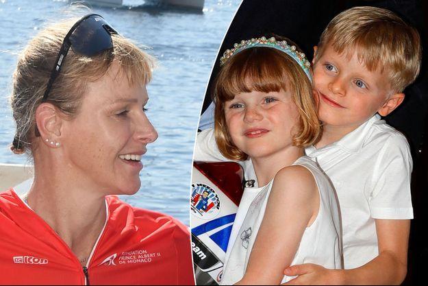 La princesse Charlène de Monaco, le 13 septembre 2020 - La princesse Gabriella et le prince Jacques de Monaco, le 21 mai 2021