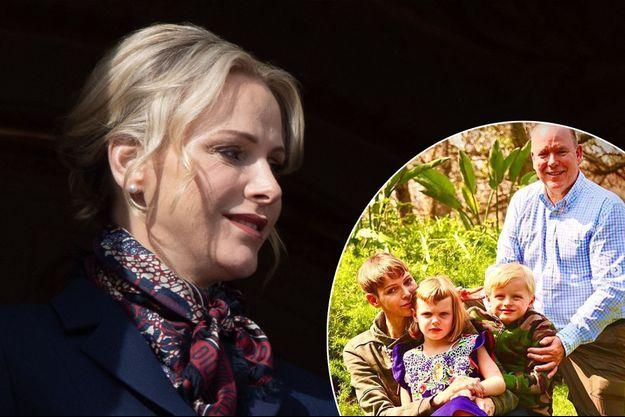La princesse Charlène de Monaco, le 27 janvier 2020. En vignette, avec le prince Albert II de Monaco et leurs jumeaux en Afrique du Sud en août 2021