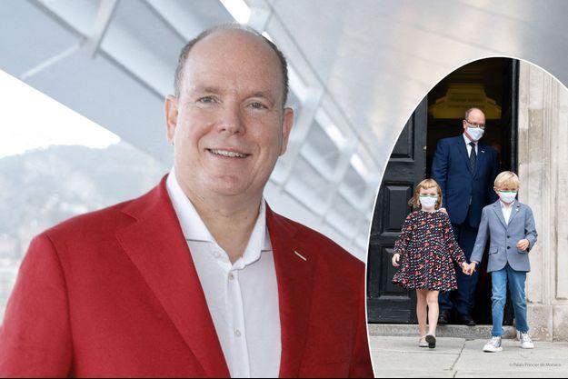 Le prince Albert II de Monaco, le 5 juillet 2021. En vignette, avec le prince Jacques et la princesse Gabriella à Dublin, le 3 septembre 2021
