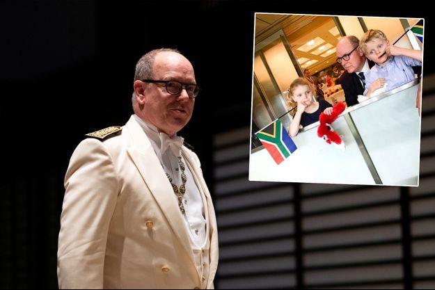 Le prince Albert II de Monaco au banquet de l'intronisation de l'empereur Naruhito du Japon à Tokyo, le 22 octobre 2019. En vignette, avec le prince Jacques et la princesse Gabriella à Yokohama, le 27 octobre 2019