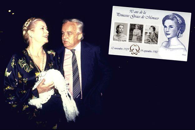 La princesse Grace de Monaco avec le prince Rainier III en 1981 - En vignette : le bloc émis par l'OETP de Monaco en 2019 en l'honneur de ses 90 ans