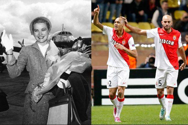 La princesse Grace de Monaco en 1961 - Le maillot des joueurs de l'ASM porte toujours la diagonale de Grace (ici en décembre 2014)