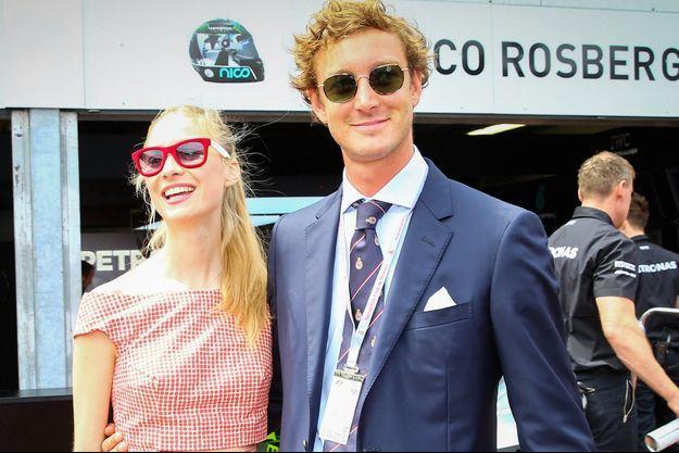 Le 23 mai 2015. Beatrice Borromeo et Pierre Casiraghi assistent au Grand Prix de F1 de Monaco.