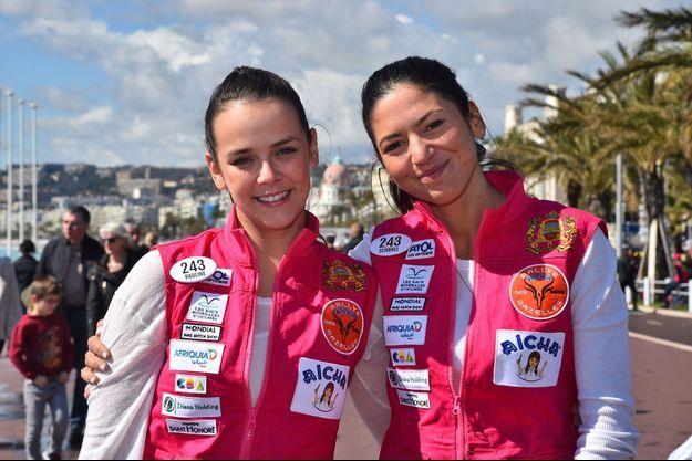 Pauline Ducruet et Schanel Bakkouche à Nice avant le départ du Rallye Aïcha des Gazelles, le 17 mars 2018